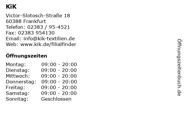 KiK Textilien & Non-Food GmbH in Frankfurt: Adresse und Öffnungszeiten