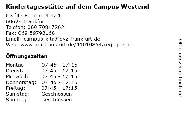 Kindertagesstätte auf dem Campus Westend in Frankfurt: Adresse und Öffnungszeiten