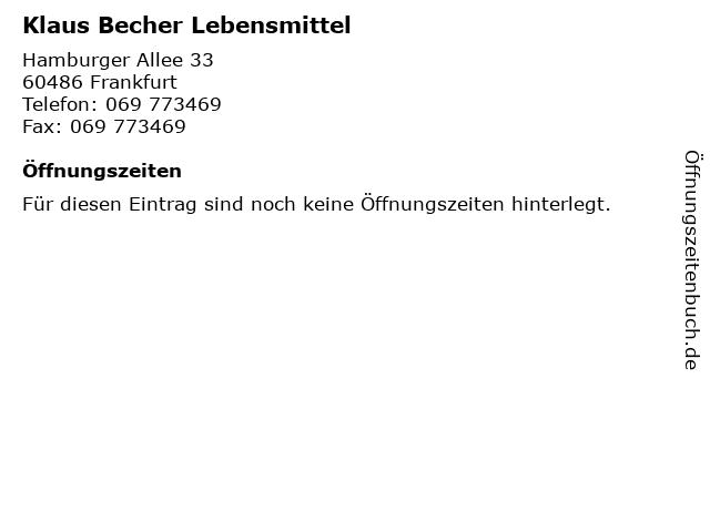 Klaus Becher Lebensmittel in Frankfurt: Adresse und Öffnungszeiten