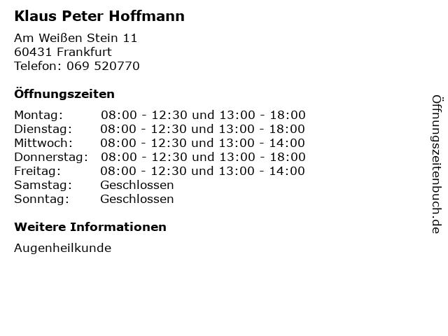 Klaus Peter Hoffmann in Frankfurt: Adresse und Öffnungszeiten
