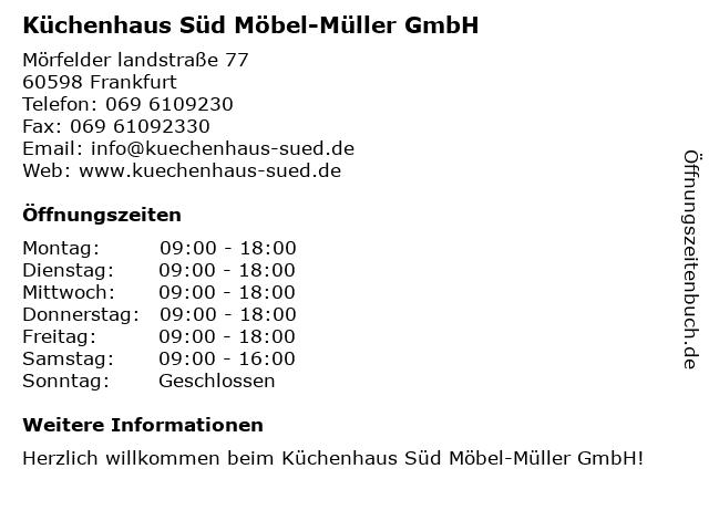 ᐅ Offnungszeiten Kuchenhaus Sud Mobel Muller Gmbh Morfelder