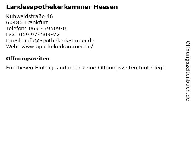 Landesapothekerkammer Hessen in Frankfurt: Adresse und Öffnungszeiten