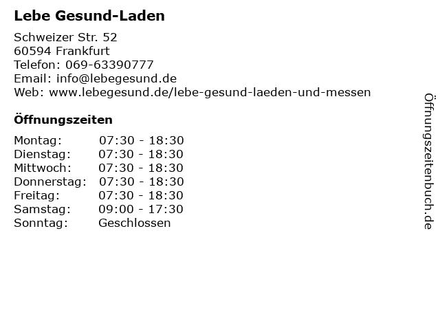 Lebe Gesund-Laden in Frankfurt: Adresse und Öffnungszeiten