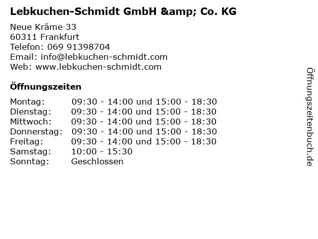 Lebkuchen-Schmidt GmbH & Co. KG in Frankfurt: Adresse und Öffnungszeiten