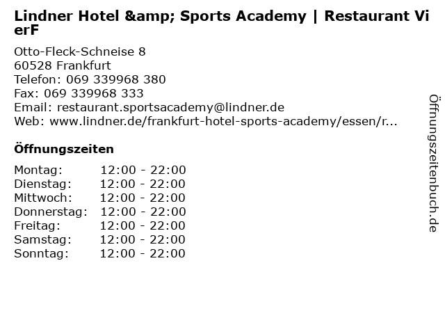Lindner Hotel & Sports Academy   Restaurant VierF in Frankfurt: Adresse und Öffnungszeiten