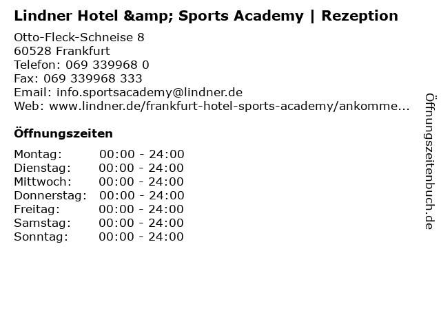 Lindner Hotel & Sports Academy | Rezeption in Frankfurt: Adresse und Öffnungszeiten