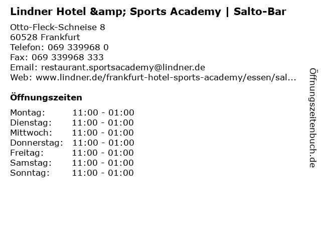 Lindner Hotel & Sports Academy | Salto-Bar in Frankfurt: Adresse und Öffnungszeiten