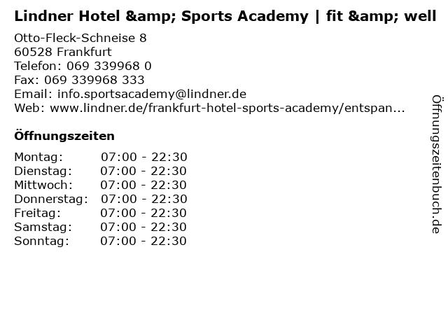 Lindner Hotel & Sports Academy   fit & well in Frankfurt: Adresse und Öffnungszeiten