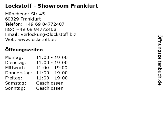 Lockstoff - Showroom Frankfurt in Frankfurt: Adresse und Öffnungszeiten