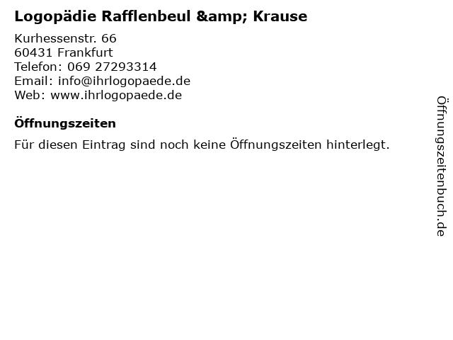 Logopädie Rafflenbeul & Krause in Frankfurt: Adresse und Öffnungszeiten