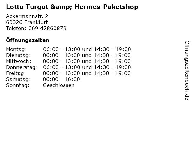 Lotto Turgut & Hermes-Paketshop in Frankfurt: Adresse und Öffnungszeiten