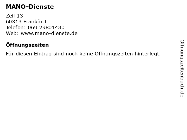MANO-Dienste in Frankfurt: Adresse und Öffnungszeiten