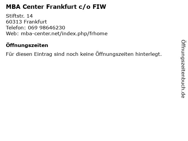 MBA Center Frankfurt c/o FIW in Frankfurt: Adresse und Öffnungszeiten