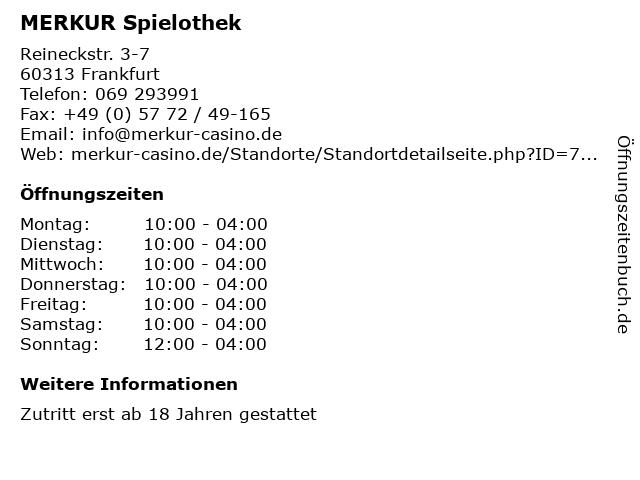 MERKUR Spielothek in Frankfurt: Adresse und Öffnungszeiten