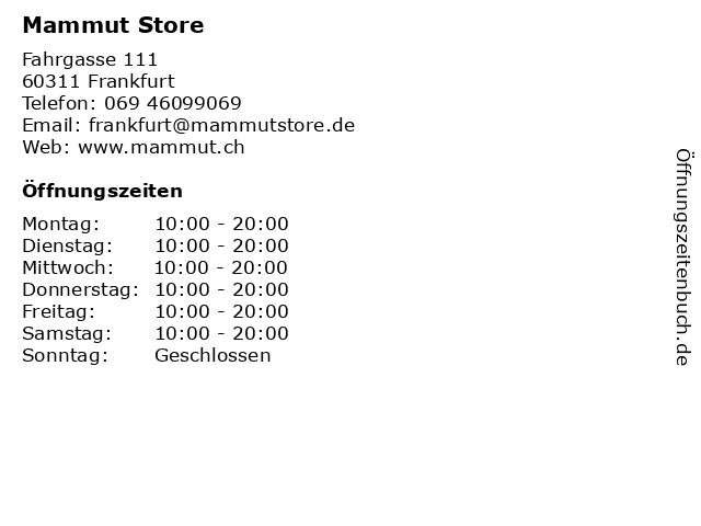 Mammut Store in Frankfurt: Adresse und Öffnungszeiten