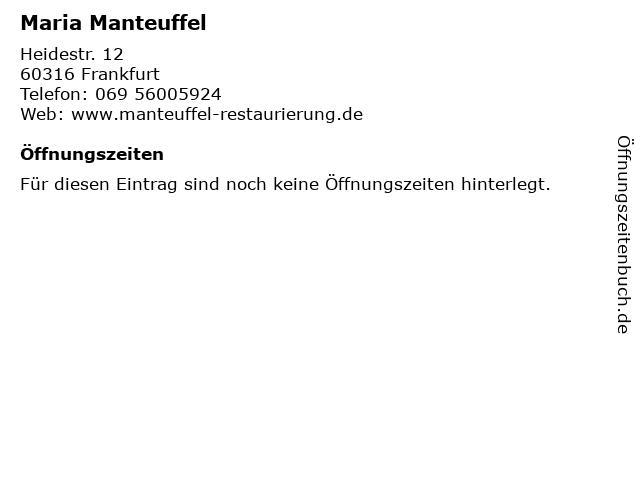 Maria Manteuffel in Frankfurt: Adresse und Öffnungszeiten