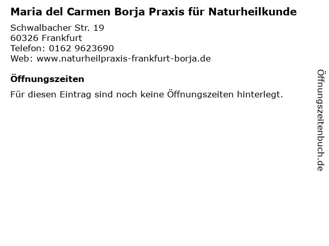 Maria del Carmen Borja Praxis für Naturheilkunde in Frankfurt: Adresse und Öffnungszeiten