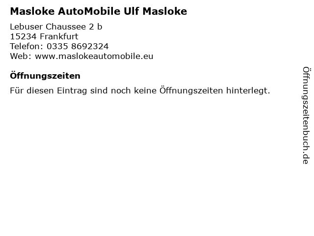 Masloke AutoMobile Ulf Masloke in Frankfurt: Adresse und Öffnungszeiten