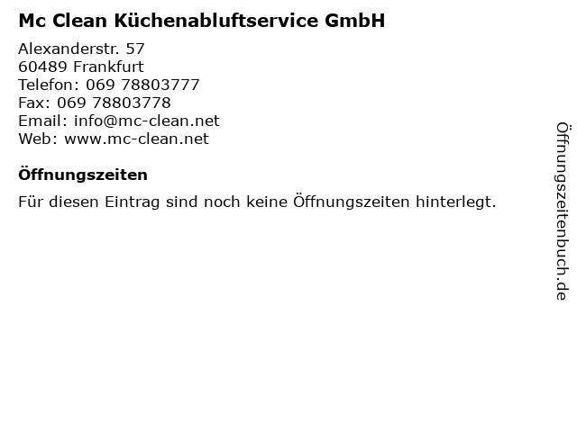 Mc Clean Küchenabluftservice GmbH in Frankfurt: Adresse und Öffnungszeiten