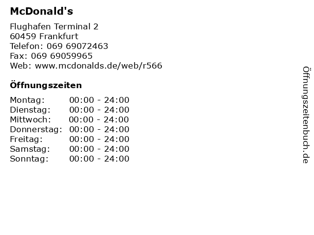 McDonald's in Frankfurt: Adresse und Öffnungszeiten