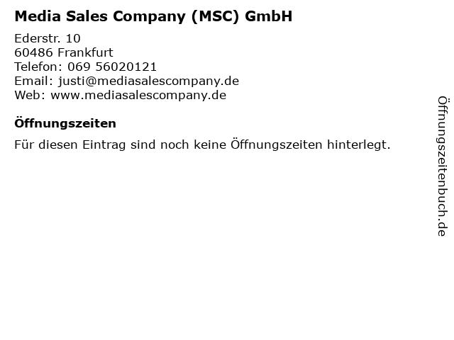 Media Sales Company (MSC) GmbH in Frankfurt: Adresse und Öffnungszeiten