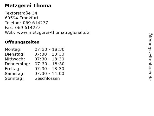 Metzgerei Thoma in Frankfurt: Adresse und Öffnungszeiten