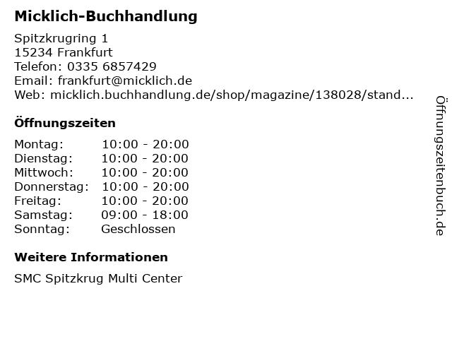 Micklich-Buchhandlung in Frankfurt: Adresse und Öffnungszeiten