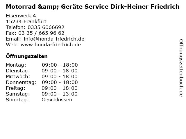 Motorrad & Geräte Service Dirk-Heiner Friedrich in Frankfurt: Adresse und Öffnungszeiten