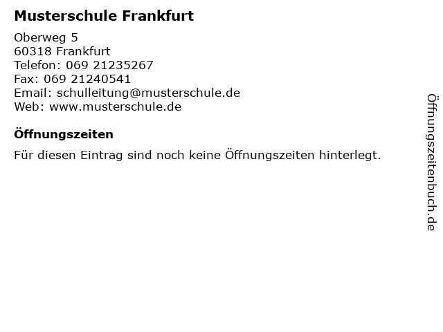 ᐅ öffnungszeiten Musterschule Frankfurt Oberweg 5 In Frankfurt