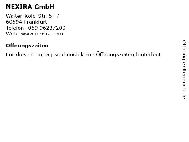 NEXIRA GmbH in Frankfurt: Adresse und Öffnungszeiten