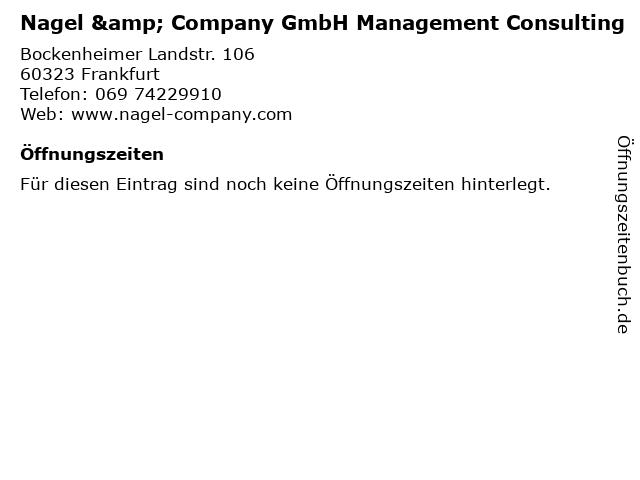 Nagel & Company GmbH Management Consulting in Frankfurt: Adresse und Öffnungszeiten