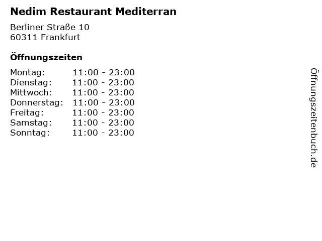 Nedim Restaurant Mediterran in Frankfurt: Adresse und Öffnungszeiten