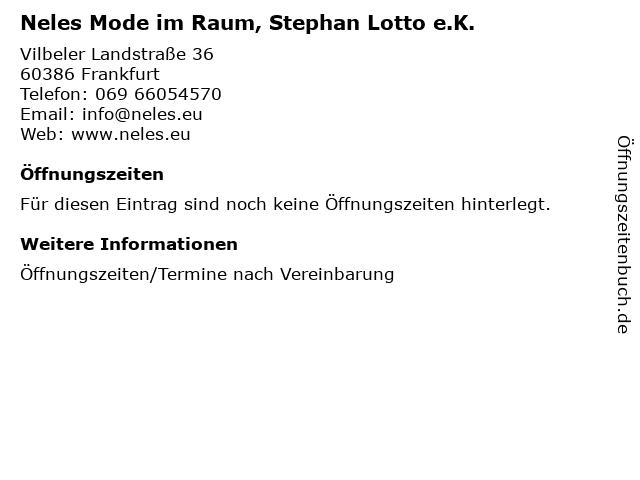 Neles Mode im Raum, Stephan Lotto e.K. in Frankfurt: Adresse und Öffnungszeiten