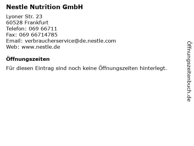 Nestle Nutrition GmbH in Frankfurt: Adresse und Öffnungszeiten