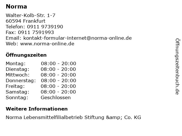 Norma Lebensmittelfilialbetrieb Stiftung & Co. KG in Frankfurt: Adresse und Öffnungszeiten