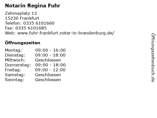 Notarin Regina Fuhr in Frankfurt: Adresse und Öffnungszeiten