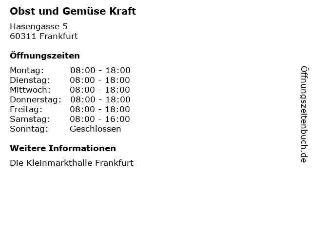 Obst und Gemüse Kraft in Frankfurt: Adresse und Öffnungszeiten