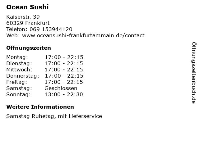 Ocean Sushi in Frankfurt: Adresse und Öffnungszeiten