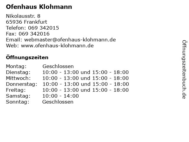 Ofenhaus Klohmann in Frankfurt: Adresse und Öffnungszeiten