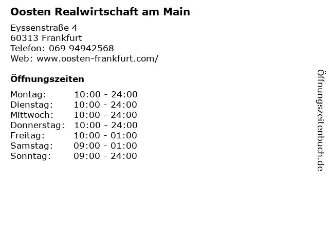Oosten Frankfurt Karte.ᐅ Offnungszeiten Oosten Realwirtschaft Am Main