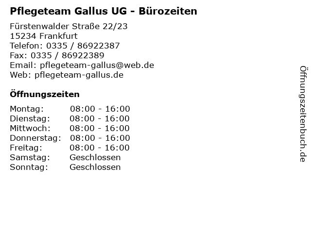 Pflegeteam Gallus UG - Bürozeiten in Frankfurt: Adresse und Öffnungszeiten