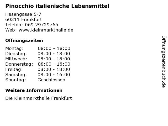 Pinocchio italienische Lebensmittel in Frankfurt: Adresse und Öffnungszeiten
