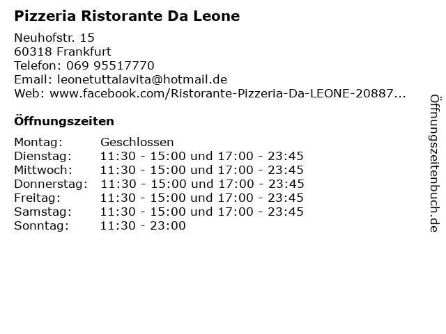 Pizzeria Ristorante Da Leone in Frankfurt: Adresse und Öffnungszeiten