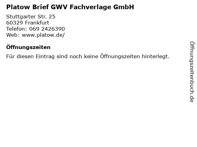Platow Brief GWV Fachverlage GmbH in Frankfurt: Adresse und Öffnungszeiten