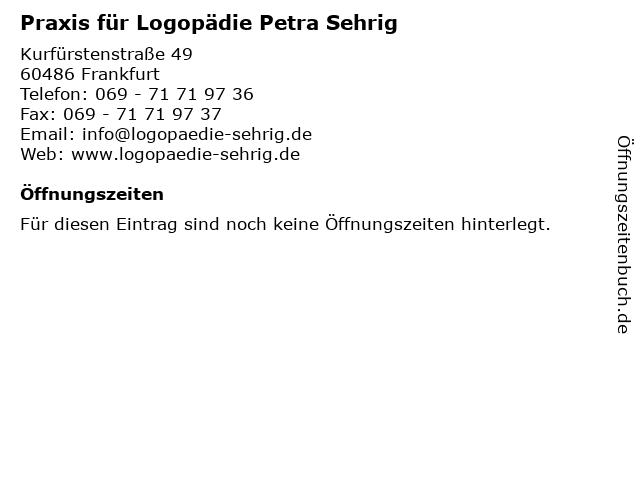 Praxis für Logopädie Petra Sehrig in Frankfurt: Adresse und Öffnungszeiten