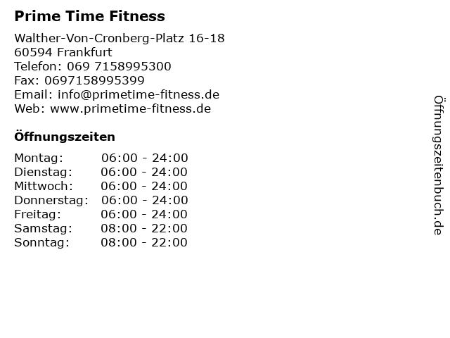 Prime Time Fitness in Frankfurt: Adresse und Öffnungszeiten