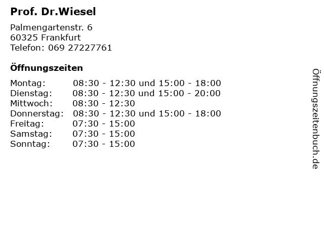 Prof. Dr.Wiesel in Frankfurt: Adresse und Öffnungszeiten