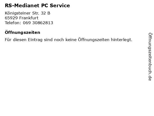 RS-Medianet PC Service in Frankfurt: Adresse und Öffnungszeiten