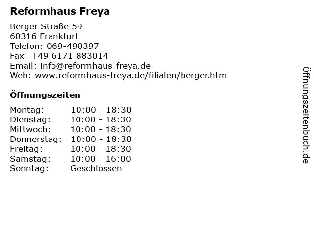 Reformhaus Freya in Frankfurt: Adresse und Öffnungszeiten