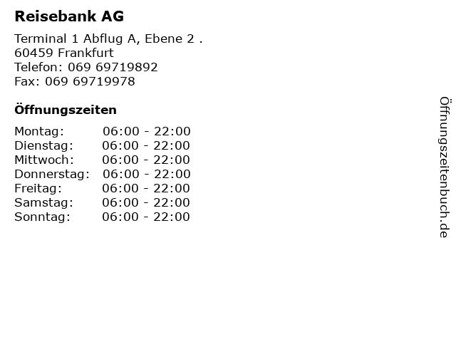 Reisebank AG in Frankfurt: Adresse und Öffnungszeiten